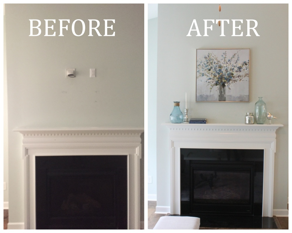 Fireplace collage with text