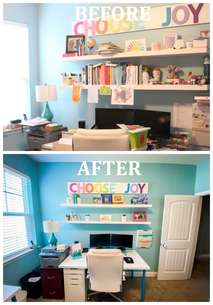 desk before and after with words