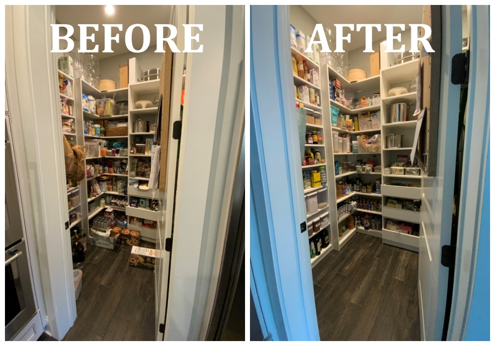 Full pantry before after