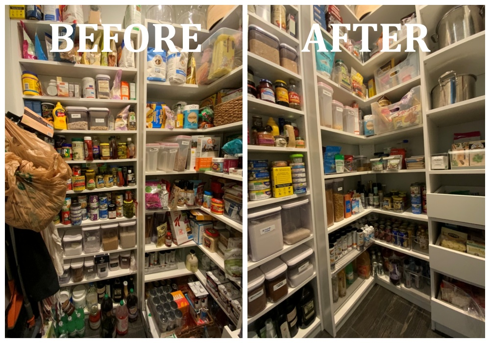 Left side pantry before after