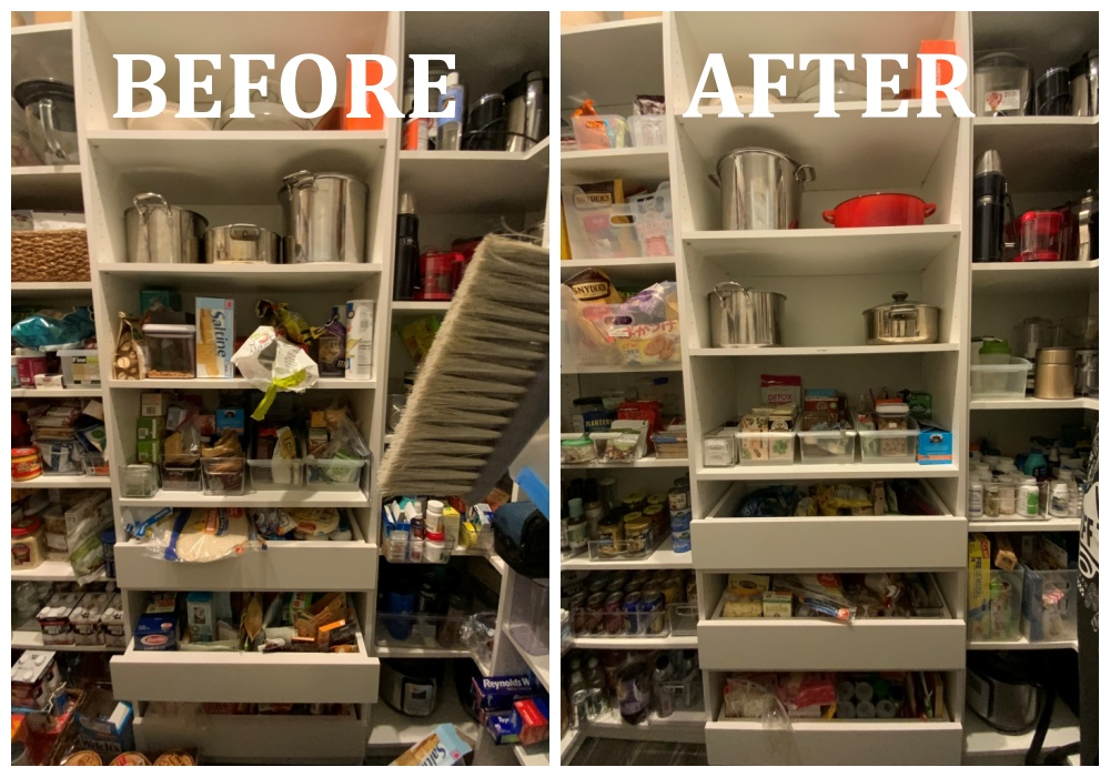 Pantry center before after