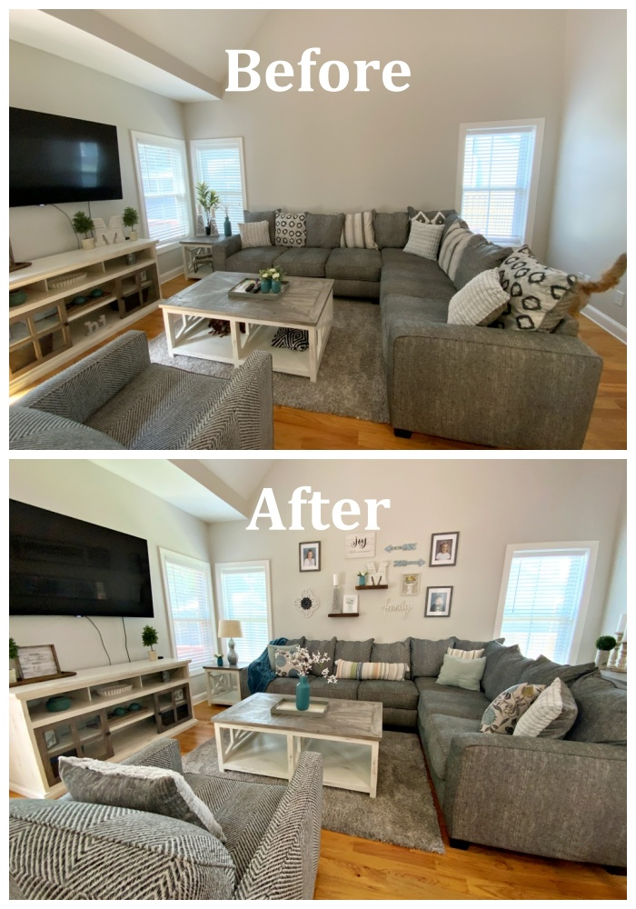 Family room before after landscape