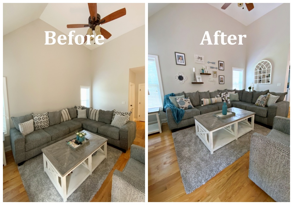 family room before and after portrait