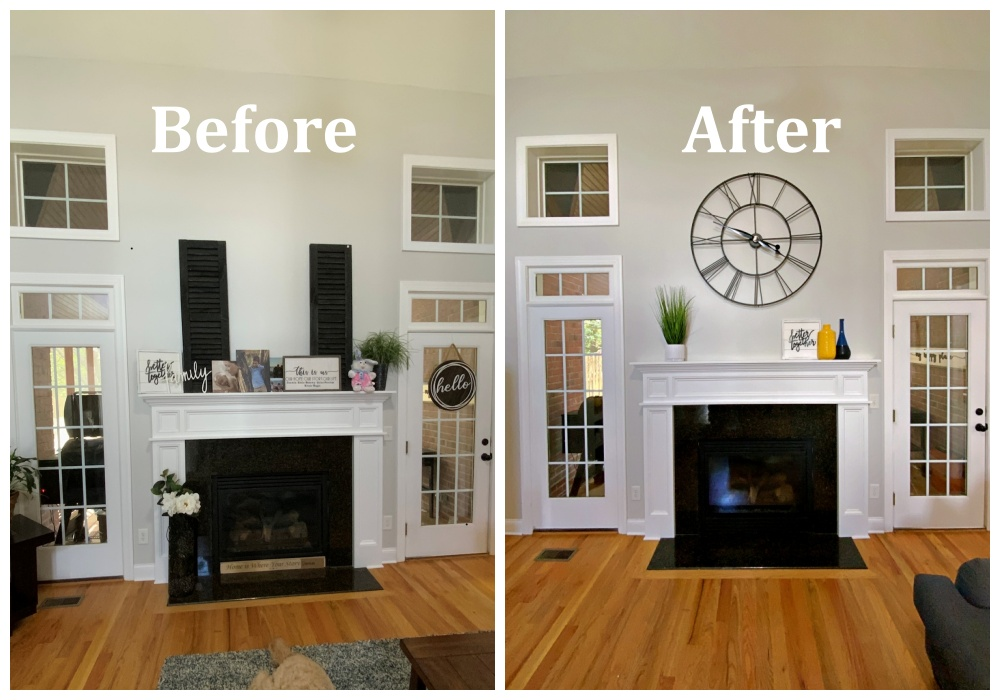 fireplace before and after portrait