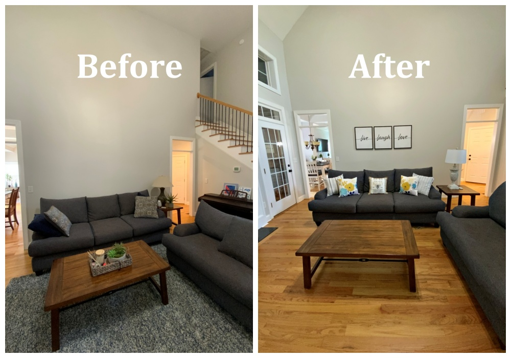 living room seating before and after portrait