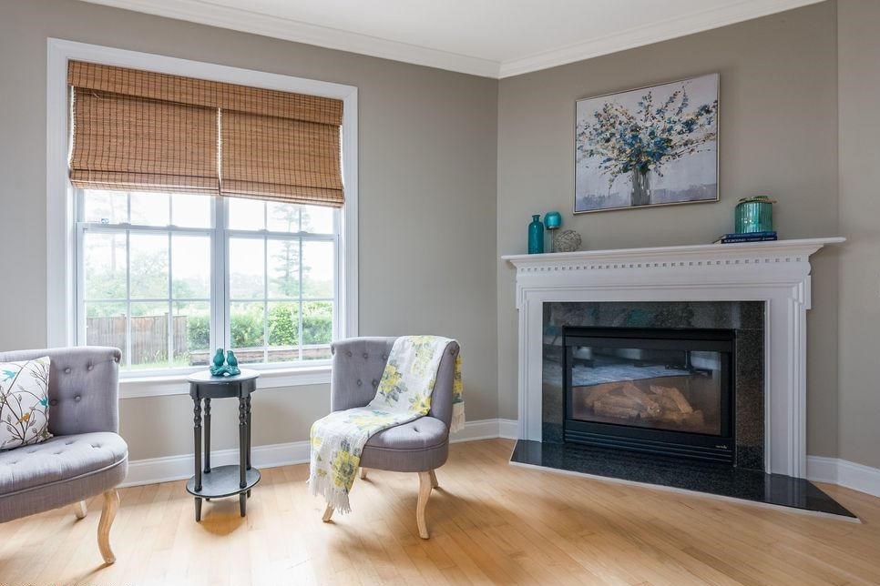 Fireplace and chairs