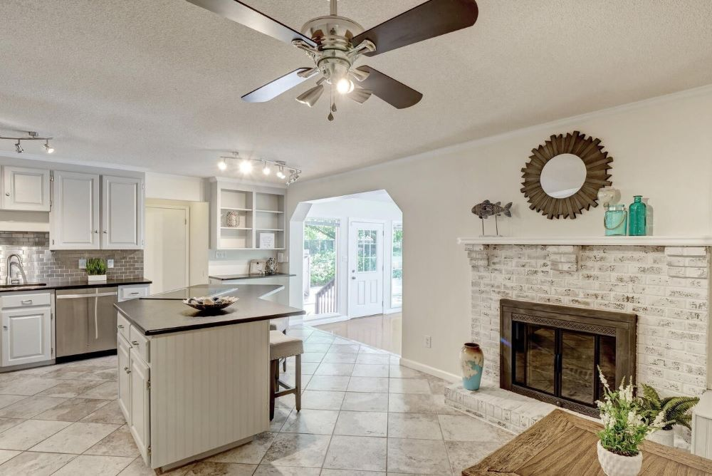 kitchen and fireplace